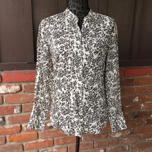 Gap Cream and Brown Floral Long Sleeve Blouse